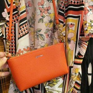 NWOT Orange Mini Calvin Klein CK Vegan Purse